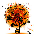 Halloween night party concept tree for your design vector image