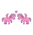 hand drawn pink unicorns in love vector image