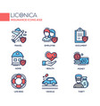 insurance - coloured modern single line icons set vector image