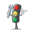 mechanic traffic light character cartoon vector image