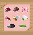sticker set of many types of insects vector image