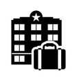 suitcase hotel building silhouette design vector image