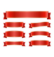 Red ribbon banners set silk design vector image
