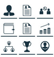 set of 9 hr icons includes manager employee vector image