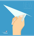 hand with paper plane vector image
