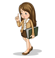 A young office worker holding a binder vector image vector image