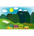 Mountain landscape with cartoon train vector image vector image