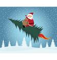 santa claus riding christmas tree vector image