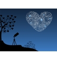 Romantic background telescope and heart vector image