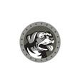 Rottweiler Guard Dog Head Metallic Circle Retro vector image