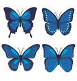 Set of blue butterflies vector image