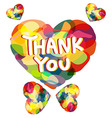Colorful heart with THANK YOU caption vector image vector image
