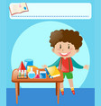 little boy doing experiment in classroom vector image