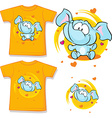orange shirt with baby elephant printed - vector image