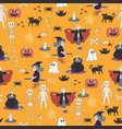seamless halloween ghost pattern background cute d vector image