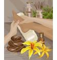 spa foot massage hands doing foot massage vector image