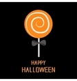 Sweet candy lollipop with spiral Black bow Happy vector image