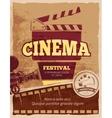 Cinema movie festival vintage poster vector image vector image