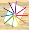 Color pencil and paper on desk vector image vector image