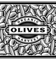 Retro Olive Harvest Label Black And White vector image vector image