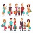 People shopping in mall cartoon characters vector image vector image