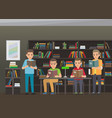 process of reading books in educational library vector image vector image