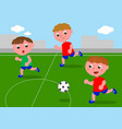 friends playing soccer in football field vector image