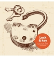 Hand drawn sketch vintage lock and key banner vector image vector image