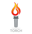 Flame Fire Torch Design Luxury Logo icon Shape vector image