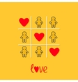 Man Woman contour line icon Tic tac toe game vector image