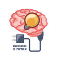 brain with bulb inside and power cable vector image