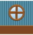 Cartoon Wooden round window Home Interior vector image