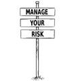 drawing of sign boards with manage your risk text vector image