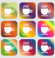 Coffee cup sign Nine buttons with bright gradients vector image
