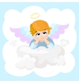 Baby angel cartoon character wings on a vector image