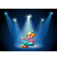 A stage with a female clown sitting at the center vector image vector image