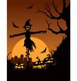 scarecrow in halloween night vector image vector image