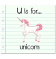 Flashcard letter U is for unicorn vector image
