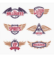 emblems with wings set vector image