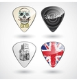 Guitar picks or plectrums with custom designs vector image