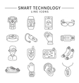 Smart Technology Monochrome Linear Icons vector image