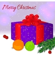 Gift box with a red ribbon and a bow Merry vector image