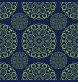 blue and green seamless doodle pattern ethnic vector image