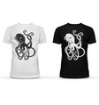Print of octopus with tentacles on t-shirt vector image vector image