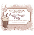hand drawn coffee frappe party invitation card vector image
