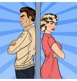 Unhappy Young Couple Standing Arms Crossed vector image