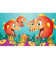 A school of piranha under the sea vector image vector image
