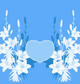 blue and white lily love card wedding invitation vector image