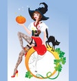 Brunette Pin Up Halloween Girl wearing witch suit vector image vector image