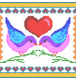 cross stitch embroidery love bird design for vector image